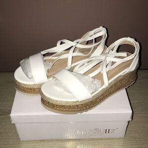 White Lace Up Platform Sandals